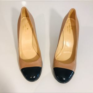 Kate Spade Black / Cream Patent Leather Wedges 7.5